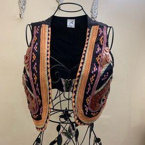 Jacqueline Riu Vest Sequins Boho Size Medium